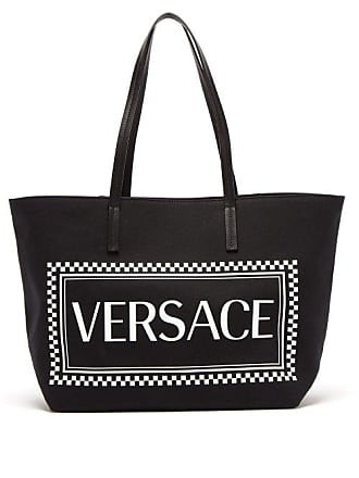 0506027a718d Versace Logo Print Canvas Tote - Mens - Black