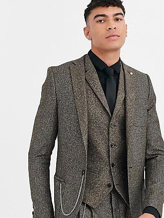 Twisted Tailor Tall - Giacca da abito super skinny a spina di pesce-Marrone