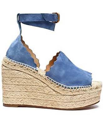 Chloé Chloé Woman Lauren Suede Espadrille Wedge Sandals Azure Size 40