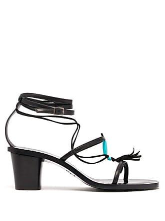 ÁLVARO GONZÁLEZ X Kim Hersov Kiowa Beaded Leather Sandals - Womens - Black Blue
