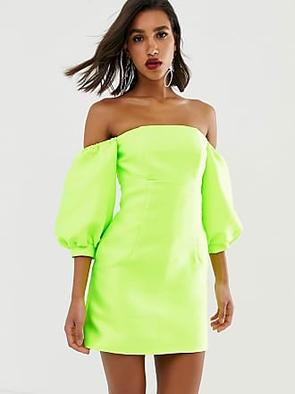Asos puff sleeve off shoulder mini dress - Yellow