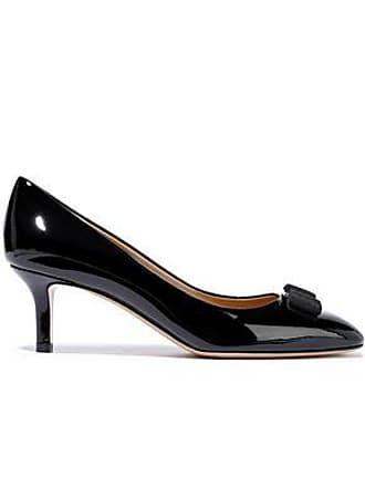 Salvatore Ferragamo Salvatore Ferragamo Woman Erice 70 Bow-embellished Patent-leather Pumps Black Size 5.5