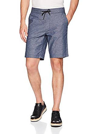 Calvin Klein Mens Stretch Linen Chambray Shorts with Drawstring, Blue Flint, S