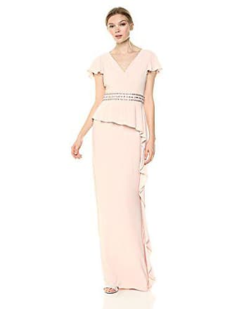 Adrianna Papell Womens Draped Jersey Dress with Cascading Ruffle On Skirt, Blush, 8