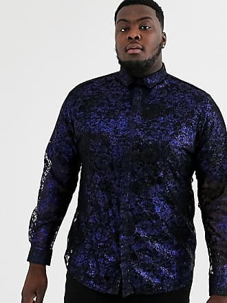 Twisted Tailor Plus - Camicia in pizzo con stampa blu metallico