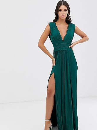 Asos Tall ASOS DESIGN Tall Premium Lace Insert Pleated Maxi Dress-Green