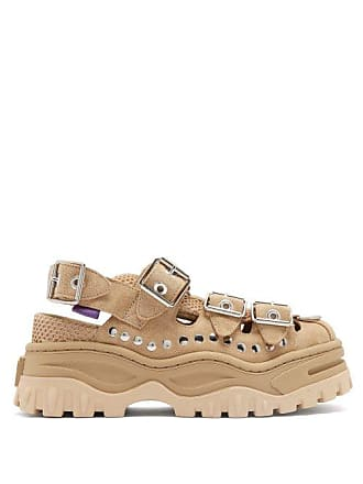 Eytys Athena Studded Suede Flatform Sandals - Womens - Beige