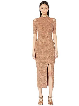 Yigal AzrouËl Melange Rib Knit Dress in Shiny Rayon (Brick Melange) Womens Dress