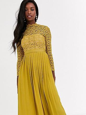 Little Mistress Tall midi length long sleeve lace dress in mustard-Yellow