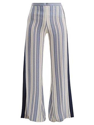 Zeus + Dione Alcyone Geometric Jacquard Silk Blend Trousers - Womens - White Multi