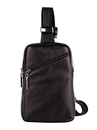 Vira Vento Mini mochila transversal de couro masculina Eric preta