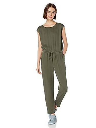 Daily Ritual Womens Tencel Short-Sleeve Jumpsuit, Dark Olive, 2