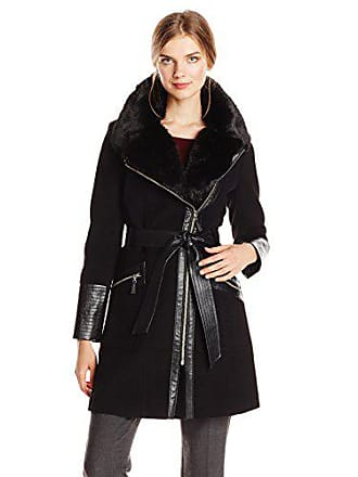 Via Spiga Womens Kate Mid-Length Belted Wool Asymmetric Zip Front Coat with Faux Fur Collar, Black/Silver Zipper, 12