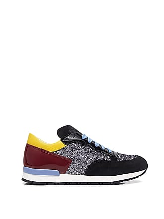 848d8342d0 Pollini Glitter-paneled Patent and Suede Sneakers Blue/metalic