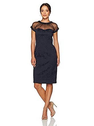 2e6b1aaa Maggy London Womens Tossed Leaf Jacquard Illusion Sheath Petite, Dark Navy,  10P
