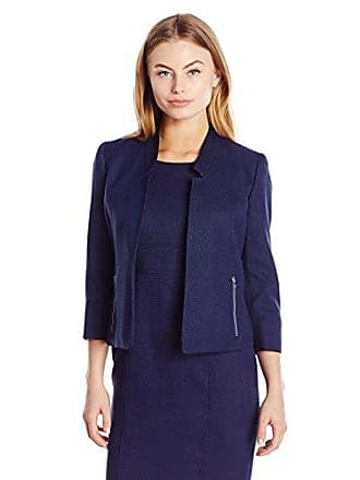Kasper Womens Petite Size Mandarin Collar Textured Flyaway Jacket, Bright Navy, 14P