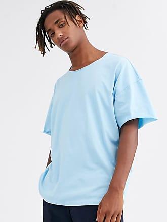 Asos Übergroßes, blaues T-Shirt mit ungesäumtem Ausschnitt
