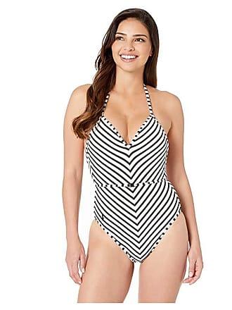 9831304738f Polo Ralph Lauren Pique Stripe Belted Halter One-Piece (Black/White) Womens