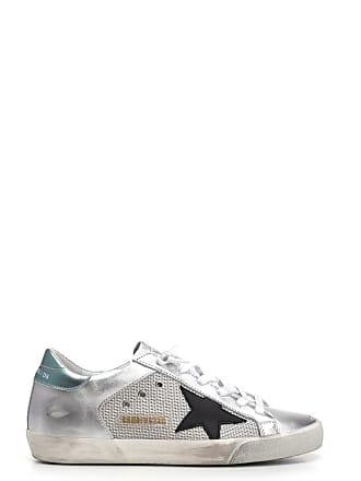 100236b572 Golden Goose Sneakers Deluxe in argento con dettaglio verde