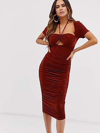846583cad7bf Club L ruched bra top midi dress with halterneck detail in rust - Brown