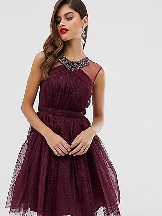 Little Mistress Petite mesh detail skater dress with neck detail-Purple