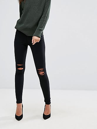 Dr. Denim Lexy mid rise second skin super skinny ripped knee jeans - Black