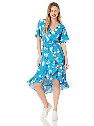 J.crew Womens Short-Sleeve Floral Ruffle Wrap Midi Dress, Emmahansi Cabana Blue Moss, XXS