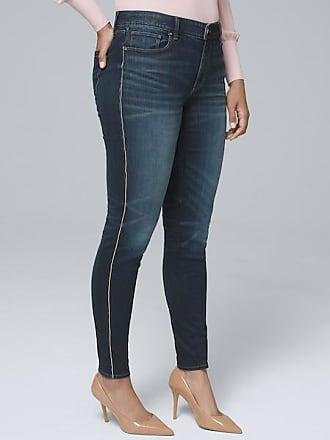 White House Black Market Womens Curvy-Fit Mid-Rise Embellished Tuxedo Stripe Skinny Ankle Jeans by White House Black Market, Dark Wash, Size 14 - Regular
