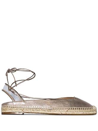 Aquazzura Espadrille de couro com amarração no tornozelo - Dourado