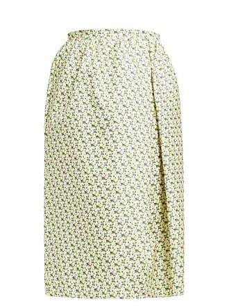 Rochas Omorus Floral Print Silk Skirt - Womens - Green Multi