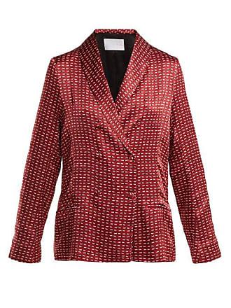 Asceno Geometric Print Sandwashed Silk Pyjama Jacket - Womens - Burgundy Print