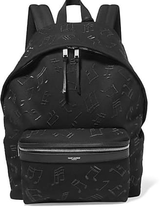 Saint Laurent City Embroidered Leather-trimmed Canvas Backpack - Black