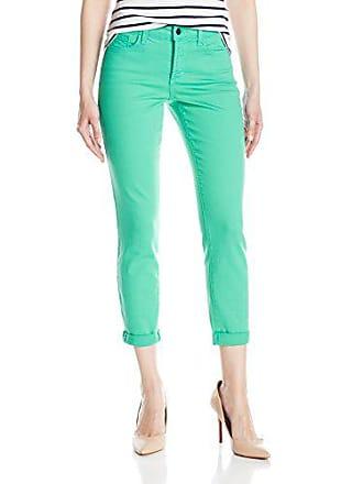 NYDJ Womens Rachel Rolled Cuff Ankle Jeans in Bull Denim, Jade Mint, 0