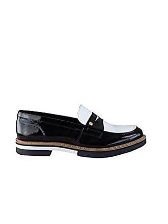 Tommy Hilfiger Loafer Leder Steg Bicolor schwarz weiß Größe 38 67020a27b2