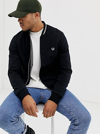 Fred Perry tipped sweat bomber jacket in black - Black