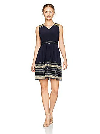 f0daf496cfe14 Tahari by ASL Womens Petite Sleeveless Fit and Flare Dress with Detailed  Hem, Navy/