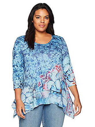 Oneworld Womens Plus-Size 3/4 Sleeve Printed Sharkbite Hem Tunic Top, Blooming Melody/Chambray, 1X