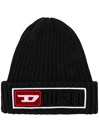 Diesel Gorro de tricô com logo - Preto