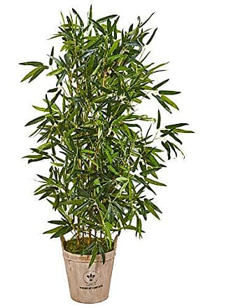 Nearly Natural 9338 58-in. Bamboo Artificial Farmhouse Planter (Real Touch) Silk Trees, Green