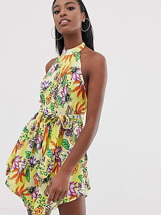9707d57f395db6 Asos Tall ASOS DESIGN Tall - Strandkleid mit hohem Kragen und Zipfelsaum in  Gelb mit Tropenmuster