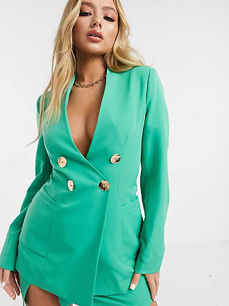 4th & Reckless double breasted blazer with gold button detail in green