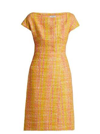 4354b3d8505d0 Prada Tweed Bouclé Midi Dress - Womens - Yellow Multi