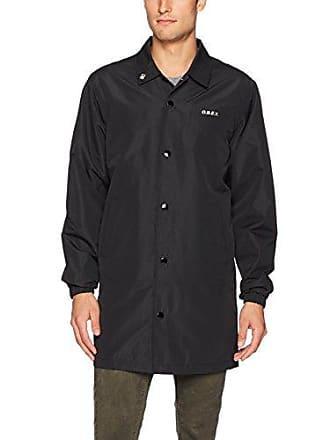 Obey Mens Master Long Coaches Jacket, Black, M