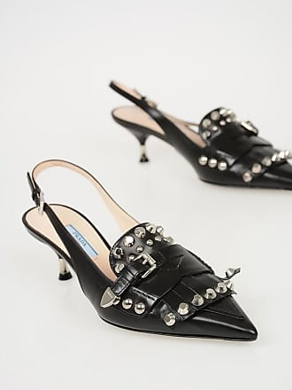 e2e4d8395a99 Prada 7 cm Studded Leather Kitten Heel Slingbacks size 38