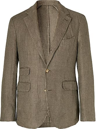 Man 1924 Brown Kennedy Slim-fit Unstructured Houndstooth Linen Suit Jacket - Brown