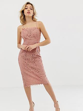 ea47836d3e101 Asos Petite ASOS DESIGN Petite square neck pencil midi dress in lace - Multi
