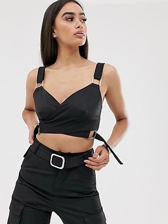4th & Reckless buckle detail bra top in black