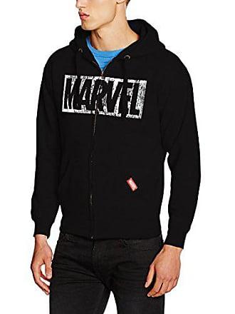 c3d39b6e5de9b MARVEL Logo Distress Zip Hood Sweat-Shirt à Capuche, Noir (Black),