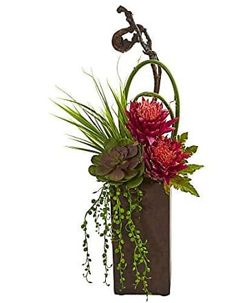 Nearly Natural 1694-MA Tropical & Succulent Artificial Brown Vase Silk Arrangements, Mauve