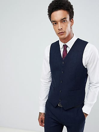 Gianni Feraud Slim Fit Large Navy Herringbone Wool Blend Suit vest - Navy